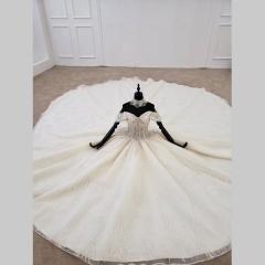 唯美显瘦影楼拍照礼服馆经典款拖尾婚纱W1031560304-10 图片色 均码