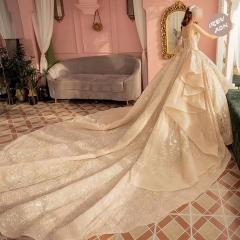 唯美显瘦影楼拍照礼服馆经典款拖尾婚纱W1031560304-21 图片色 均码
