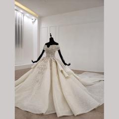 唯美显瘦影楼拍照礼服馆经典款拖尾婚纱W1031560304-66 图片色 均码