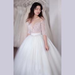唯美显瘦影楼拍照礼服馆经典款齐地婚纱W1011740305-7 图片色 均码