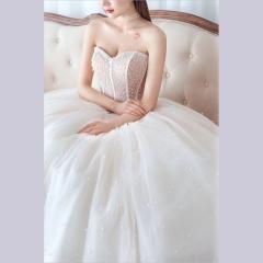 唯美显瘦影楼拍照礼服馆经典款齐地婚纱W1011740305-8 图片色 均码