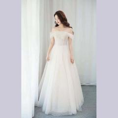唯美显瘦影楼拍照礼服馆经典款齐地婚纱W1011740305-9 图片色 均码