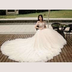 唯美显瘦影楼拍照礼服馆经典款拖尾婚纱W1031740305-32 图片色 均码