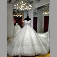 一字肩新娘结婚当天嫁衣拖尾婚纱绑带款Z103170032301 图片色 均码
