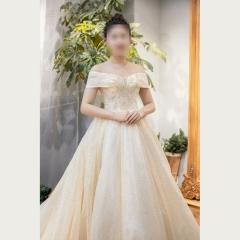 新娘结婚嫁衣一字肩喷金粉大拖尾婚纱绑带款W1031680011 图片色 均码