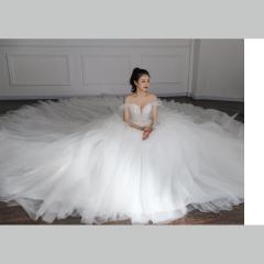 一字肩太阳摆新娘仪式坐床大拖尾纱W1031740410-1 图片色 均码