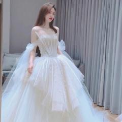 仙仙抹胸造型公主款新娘结婚仪式拖尾纱W1030350503-1 图片色 均码
