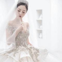 高级奢华钉珠包肩美背款新娘结婚主仪式纱W1031560503-2 图片色 均码