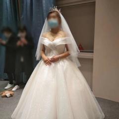 一字肩V领款新娘嫁衣影楼拍照婚纱W1011690503-1 图片色 均码