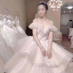 一字肩小V领蛋糕裙款新娘仪式纱影楼高端外景纱W1031680515-3 图片色 均码