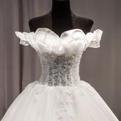 甜美可爱抹胸收腰鱼骨造型款拖尾婚纱W1031680515-4 图片色 均码