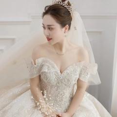 唯美大气一字肩桃心款新娘结婚主仪式纱W1031680515-5 图片色 均码