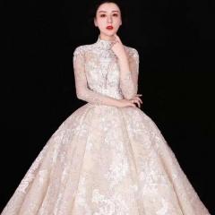 高端英式复古两穿蕾丝款拖尾婚纱W1031610515-1 图片色 均码