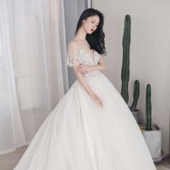 时尚简约包肩款新娘结婚大拖尾婚纱W1031740515-4 图片色 均码