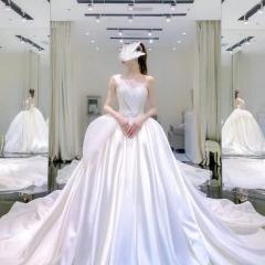 典雅高贵抹胸缎款新娘结婚仪式婚纱W1031700528-1 图片色 均码