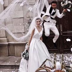 双肩V领缎质影楼拍照旅拍风外景婚纱W2011170514-1 如图(单女装) 均码
