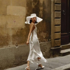 婚纱摄影工作室拍照款单女装旅拍风白色女装W901024051901 (单女装)无帽子 均码