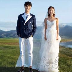 婚纱摄影旅拍风单女装双肩带V领白色青葱的爱W9010111221-4 如图(单女装) 均码