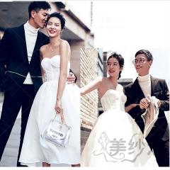 婚纱摄影旅拍风单女装抹胸款白色一路朝前W9010111221-5 如图(单女装) 均码