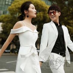 婚纱摄影拍照款旅拍风单女装双肩带一字肩W901011g-2380 如图(单女装) 均码
