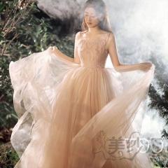 婚纱摄影工作室拍照款旅拍风单女装双肩带W901011g-2637 如图(单女装) 均码