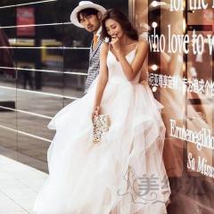 婚纱摄影拍照款旅拍风单女装双肩深V领W901011g-2669 如图(单女装) 均码