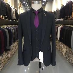 男士演出主持人婚礼伴郎男装绅士西服三件套西装3010191801黑色 如图(三件套) 48码