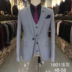 男士演出主持人婚礼伴郎男装绅士西服三件套西装3010191801浅灰 如图(三件套) 48码
