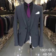 男士演出主持人婚礼伴郎男装绅士西服三件套西装3010191801中灰 如图(三件套) 48码