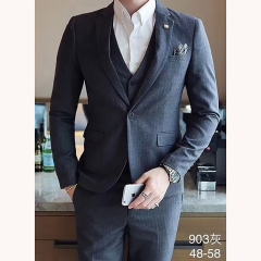 男士演出婚礼礼服男装绅士西服影楼拍照款三件套301019903HUISE 如图(三件套) 48码