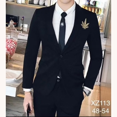 男士演出主持人婚礼伴郎男装绅士西服三件套拍照款301019XZ113 如图(三件套) 48码