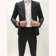 男士演出主持人婚礼伴郎男装绅士西服三件套拍照款3010191962HEI 如图(三件套) 48码