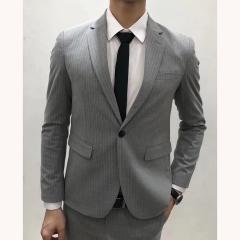 男士演出主持人婚礼伴郎男装绅士西服三件套拍照款3010191961HUI 如图(三件套) 48码