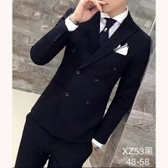 男士演出主持人婚礼男装绅士西服三件套拍照款301019XZ53HEI 如图(三件套) 48码