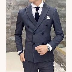 男士演出主持人婚礼男装绅士西服三件套拍照款301019XZ53HUI 如图(三件套) 48码
