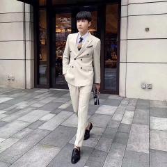 男士西服套装男西装三件套韩版修身影楼拍照结婚西装30102008261 如图(三件套) 48码