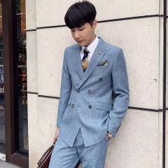 韩版修身西装男士西服套装男影楼拍照结婚西装30102008261-1 如图(三件套) 48码
