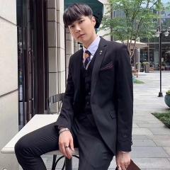 韩版修身西装男士西服套装男影楼拍照结婚西装30102008263 如图(三件套) 48码