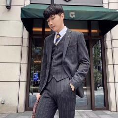 韩版修身西装男士西服套装男影楼拍照结婚西装30102008264 如图(三件套) 48码