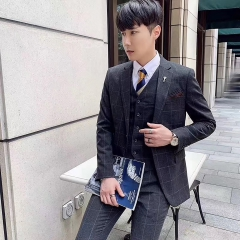 韩版修身西装男士西服套装男影楼拍照结婚西装30102008269 如图(三件套) 48码