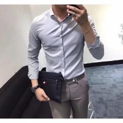 百搭纯色男士衬衣修身长袖衬衫303ALJ083113 图片色 XXXL
