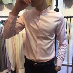 婚纱影楼摄影拍照款百搭纯色男士衬衣修身长袖衬衫303ALJ083114 图片色 3XL