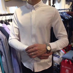 百搭纯色男士衬衣修身长袖衬衫303ALJ083115 图片色 M