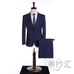 藏蓝色格子新款男装两件套单纽扣影楼工作室拍照款3010220418-1 图片色 44