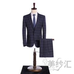 格子装新款男装两件套单纽扣影楼工作室拍照款3010220418-2 图片色 44
