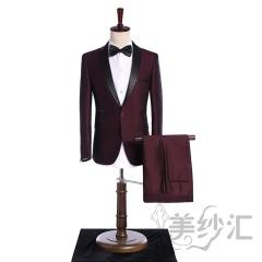 酒红色新款男装两件套单纽扣影楼工作室拍照款3010220418-4 图片色 44