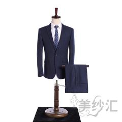 竖条纹新款男装两件套单纽扣影楼工作室拍照款3010220418-5 图片色 44