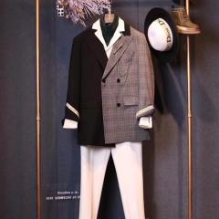 时尚潮牌拼接款男士两件套西装影楼拍照西装3010070425-1 如图 58码