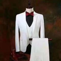 婚纱影楼工作室拍照款白色三件套男装W3010300305-04 如图(三件套) M