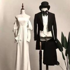 婚纱影楼工作室拍照款两件套男装燕尾服W3010070308-24 如图(两件套无马甲) 48码